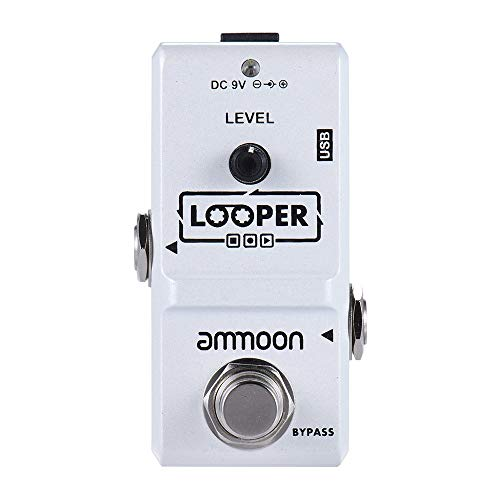 ammoon AP-09 Nano Series Loop Electric Guitar Effect Pedal Looper True Bypass Unlimited Overdubs 10 Minutes Recording with USB Cable-White
