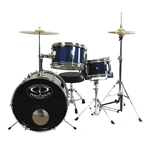 GP Percussion GP50MRB Complete Junior Drum Set (Metallic Royal Blue, 3-Piece Set)