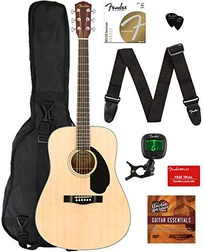 Fender CD-60S Dreadnought Acoustic Guitar - Natural Bundle with Gig Bag, Tuner, Strap, Strings, Picks, Fender Play Online Lessons, and Austin Bazaar Instructional DVD