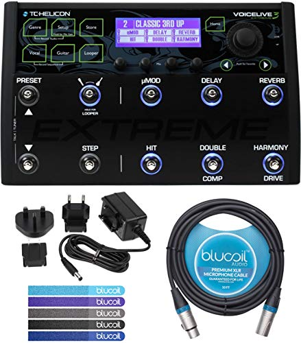 TC Helicon VoiceLive 3 Extreme Vocal Effects Processor Bundle with External Power Supply, Blucoil 10-FT Balanced XLR Cable, and 5-Pack of Reusable Cable Ties