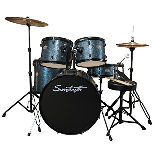 Rise by Sawtooth Full Size Student Drum Set with Hardware and Cymbals, Storm Blue Sparkle