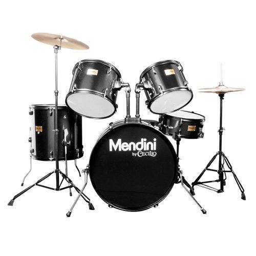 Mendini by Cecilio Complete Full Size 5-Piece Adult Drum Set with Cymbals, Pedal, Throne, and Drumsticks, Metallic Wine Red, MDS80-WR