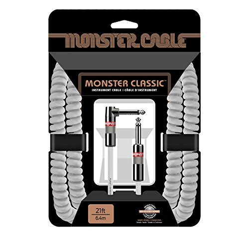 Monster Cable Classic 1/4' Angled to Straight Coiled Instrument Cable White 21 ft.