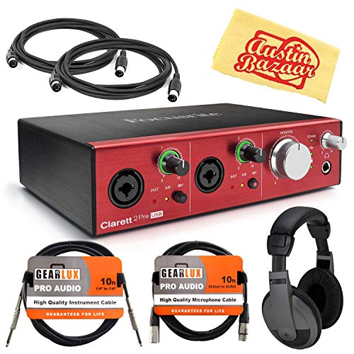 Focusrite Clarett 2Pre USB Audio Interface Bundle with Headphones, Instrument Cable, XLR Cable, MIDI Cables, and Austin Bazaar Polishing Cloth