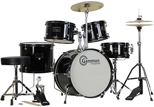 Gammon 5-Piece Junior Starter Drum Kit with Cymbals, Hardware, Sticks, & Throne - Black