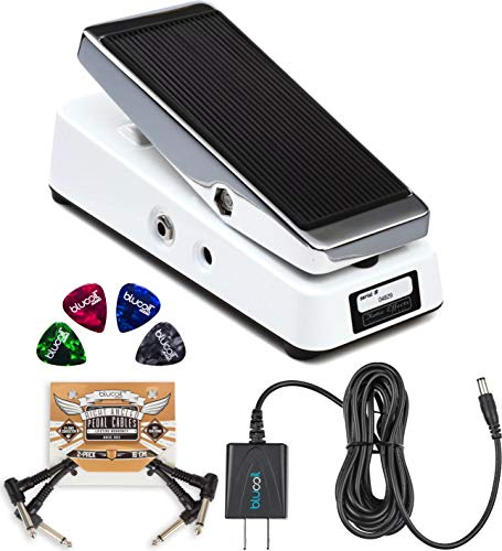 Xotic Wah XW-1 Guitar Effects Pedal with True Bypass Switch Bundle with Blucoil Slim 9V 670ma Power Supply AC Adapter, 2-Pack of Pedal Patch Cables, and 4-Pack of Celluloid Guitar Picks