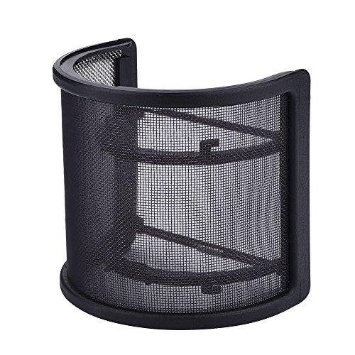 eBerry Microphone Pop Filter, U Shape Mask Metal Mesh and Foam Double Layer Mic Windscreen for Studio Microphone