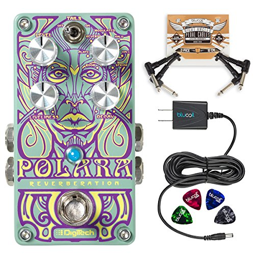 DigiTech Polara Lexicon Reverb Effects Pedal Bundle with Blucoil Power Supply Slim AC/DC Adapter for 9 Volt DC 670mA, 2-Pack of Pedal Patch Cables and 4 Guitar Picks