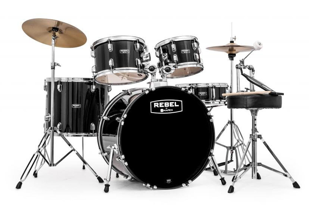Mapex RB5294FTCDK Rebel 5-Piece Drum Set with Hardware, Cymbals and 22' Bass Drum - Black