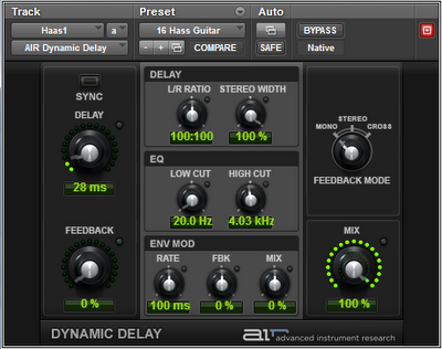 Delay settings